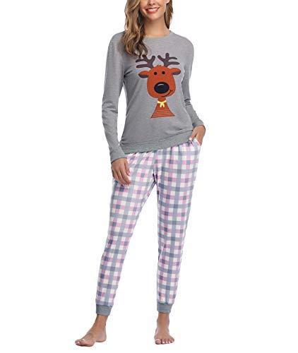 Aiboria Pijamas Navidad para Mujer, Pijamas de Algodón de Manga Larga para Mujer Patrón de Cabeza de Ciervo Lindo de Navidad