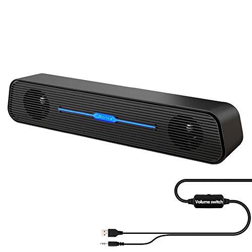 Computer Speakers Wried Soundbar,Bebom Basics N5 USB Powered Mini Sound bar Speaker for TV Desktop PC Laptop,Pluy and Play (Black)