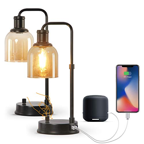 Set of 2 Industrial Table Lamp ,Nightstand Table Lamp with 2 USB Ports, Gold Glass Shade Bedside Table Lamp,Bedroom Desk Reading Lamp for Living Room,Office