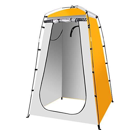 Qdreclod Camping Duschzelt Tragbar Umkleidezelt Toilettenzelt Draussen, 120 * 120 * 180 cm, einschließlich Zeltpflock, Stange, Seil, Aufbewahrungstasche (Orange)