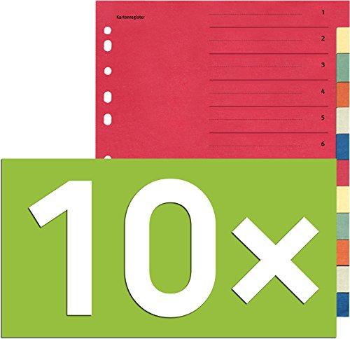 Falken Karton-Register für DIN A4 24 x 29,7 cm volle Höhe mit Organisationsdruck (12-teilig | 10er Pack)