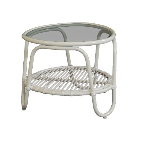 korb.outlet Moderner Outdoor Beistelltisch Holiday im Retro-Design/Garten-Tisch aus stabilem Aluminium in Trendfarbe (Weiss)