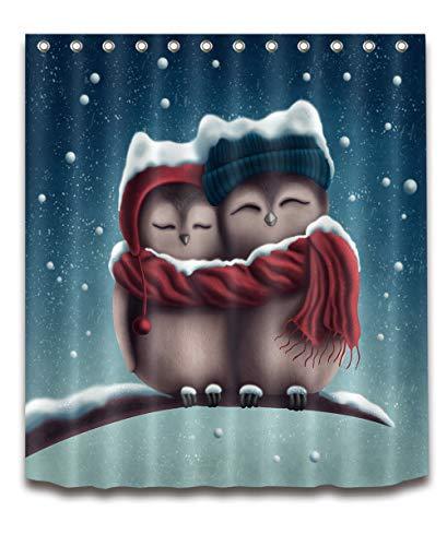 JHTRSJYTJ Winter-Schnee-Nette Eulen-Paar-Baumaste Duschvorhang ist geeignet für Badezimmer,Polyester wasserdicht,12Haken,180X200cm,Wohnkultur