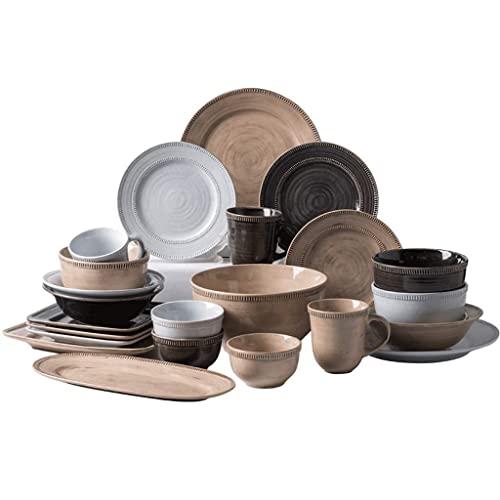 CCAN Juegos de vajilla de cerámica (30 Piezas), Cuenco/Plato/Cuchara   Juego de vajilla de Estilo Retro de Europa Central, Juego de combinación de Porcelana Artesanal Antigua Pintada a Mano