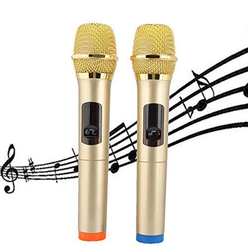 Draadloze handmicrofoon Draagbaar dynamisch microfoonsysteem Ontvangerset voor spraak, huisfeesten, karaoke, zakelijke bijeenkomsten, 50 m ontvangstafstand (goud)