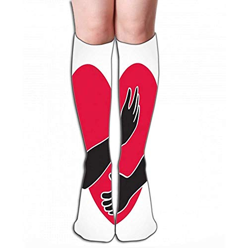 Mannen Vrouwen Outdoor Sport Hoge Sokken Stocking knuffel hart liefde jezelf symbool eps Kleine Tegel lengte 19.7