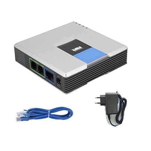 Adaptador de VoIP Internet Phone Desbloqueado Adaptador PAP2T de VoIP de teléfono de Voz SIP 2 FXS Puertos Enchufe de la UE