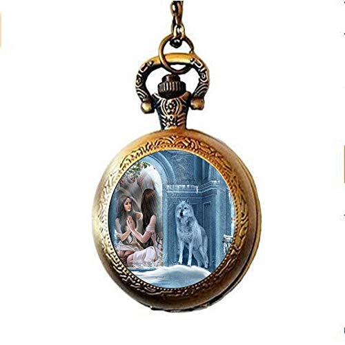 Collana con orologio da tasca con lupo e ragazza, gioiello vintage in vetro