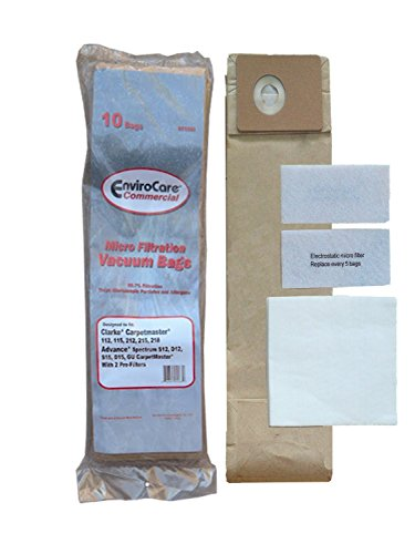 EnviroCare Replacement Micro Filtration Vacuum Cleaner Dust Bags made to fit Advance Spectrum, Clarke, CarpetMaster, Nilfisk Vacuums. 10 Bags + Exhaust & Pre Filters Filter