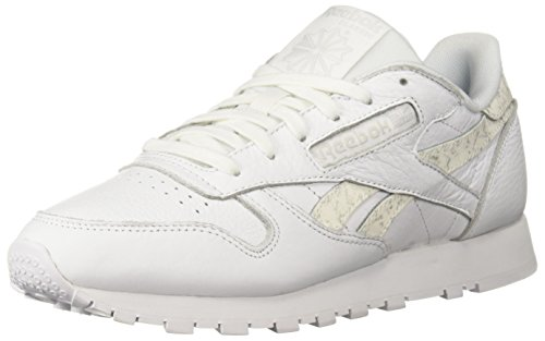 Reebok Women's Classic Leather Walking Shoe, Sidestripes-White/LGH gre, 5 M US