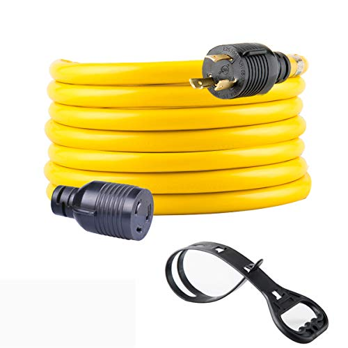 Yodotek Heavy Duty 3 Prong Generator Locking Power Cord NEMA L5-30P/L5-30R,10 Gauge SJTW Cable, 125V 30Amp Yellow Generator Lock Extension Cord with UL Listed…