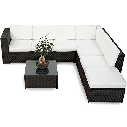 XINRO® 19tlg XXXL Polyrattan Gartenmöbel Lounge Sofa günstig - Lounge Möbel Lounge Set Polyrattan Rattan Garnitur Sitzgruppe - In/Outdoor - handgeflochten - mit Kissen - schwarz