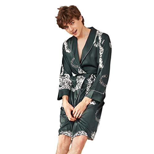YuanDian Herren Damen Lang Kimono Morgenmantel Satin Robe Revers Gürtel Seide Kimono Nachtkleiding Robe Bademantel Tiger Drucken Hausmantel Schlafanzug Herren Blau 2XL