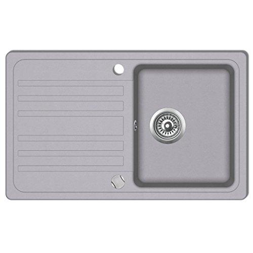 Festnight Granit Küchenspülbecken Küchenspüle Becken Spülbecken mit Abtropffläche Umkehrbar Grau