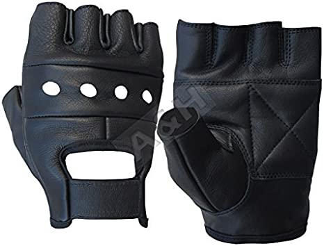 Small A/&H Apparel Leather FingerLess Cowhide Genuine Motorcycle Driving Gloves