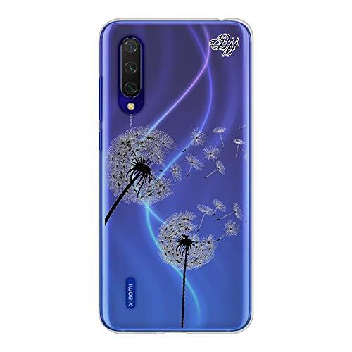 BJJ SHOP Funda Slim Transparente para [ Xiaomi Mi 9 Lite ], Carcasa de Silicona Flexible TPU, diseño : Flores Diente de Leon