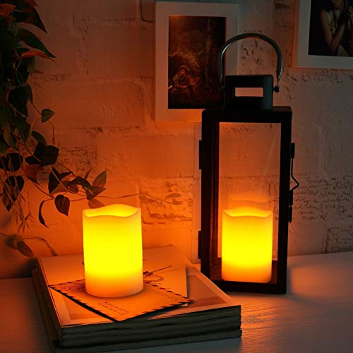 "Braides Candles and Holders 2PCS Real Wax Can-Be-Blown-Out Battery Operated Flameless LED Candles 3""x4"" (Eco Candles and Quality Holders)"