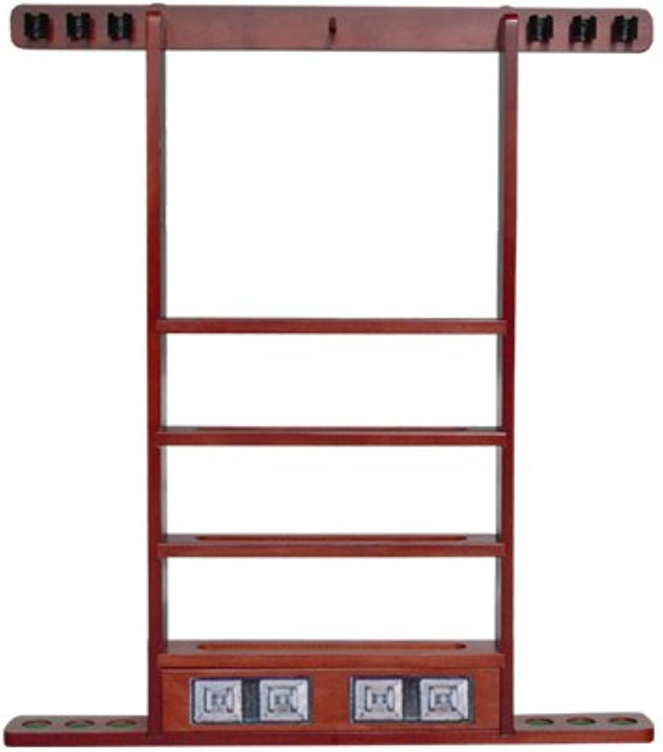 Economy WallMount Cue Rack in Mahogany Finish  Sterling Gaming