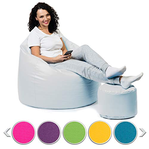 sunnypillow Premium XXL Sitzsack mit Hocker Riesensitzsack Outdoor & Indoor mit 320L Styropor Füllung Sessel für Kinder & Erwachsene Sitzkissen Sofa Beanbag viele Farben zur Auswahl Weiß