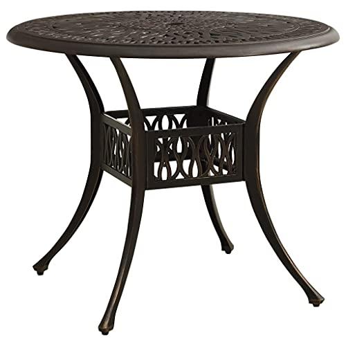 vidaXL Gartentisch mit Schirmloch Terrassentisch Balkontisch Esstisch Tisch Gartenmöbel Outdoor Terrasse Bronzen 90x90x74cm Aluminiumguss