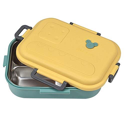 El Almuerzo del Acero Inoxidable de la Caja se Puede Calentar en un Horno de microondas (Color : Amarillo)