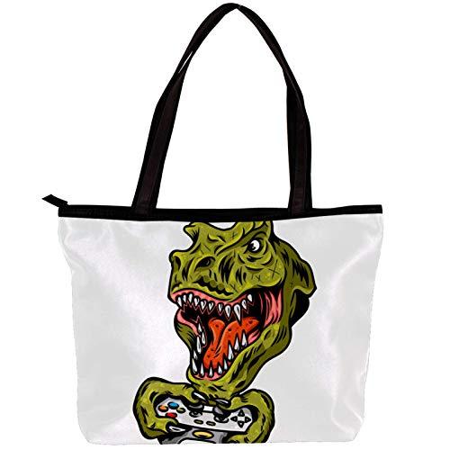 Borse hobo per donna Dinosaur Game Console Borsa hobo di grande capacità in tessuto twill moda 30x10.5x39cm