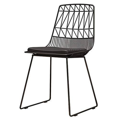 SONGYU Dining Chair Metal Iron Art Hollow Modern Cafe Chair PU Leather Upholstered Cushion Living Room Balcony