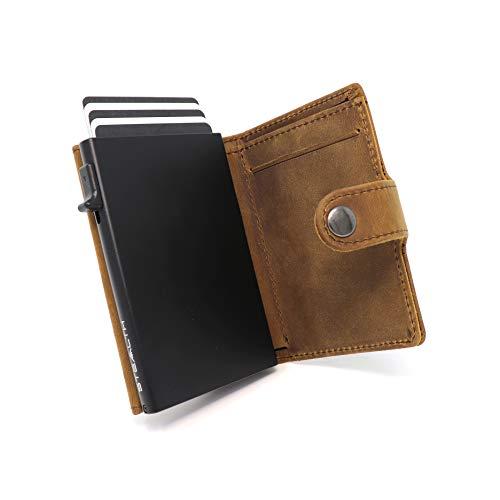 STEALTH WALLET Portatarjetas RFID Minimalista - Carteras de Tarjetas de Crédito de Metal Delgado y Ligero con Bloque NFC (Aluminio Negro con Cuero de Caballo Loco Marrón y Bolsillo para Monedas.)