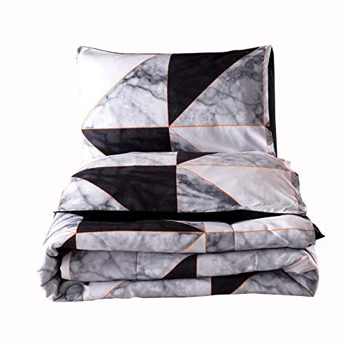A Nice Night Closure-Printed Geometric Gold Triangle Marble Pattern,Black Abstract Bedding Ultra Soft Comforter Set Bed-in-a-Bag,Queen (Black-Grey,Queen)