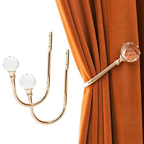 Gudui Curtain Holdbacks, Curtain Tieback Hooks For Drapes Curtain Holdback Crystal Gold Decorative Drapery Curtain Holder Wall Window Treatment Holdback For Thick Sheer Curtains