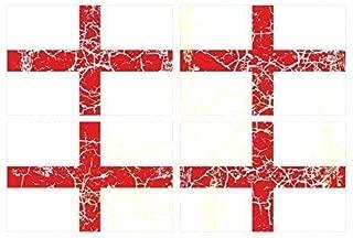 Desgastado Antiguo 4 Piezas de Cruz de San Jorge Inglaterra Inglés Bandera Impreso Vinilo Bicicleta Coche Pegatinas Each 90x60mm Apróx