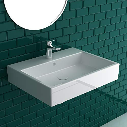Duravit Vero Air wastafel 60 x 47 cm van sanitairkeramiek in wit met 1 kraangat en overalop | Ook te gebruiken als opzetwastafel | Wastafel met bevestigingsset voor wandmontage