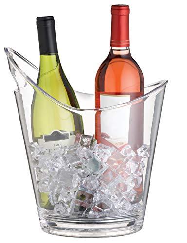 BarCraft Weinkühler & Champangerkühler mit Griff, Kunststoff, Transparent, 10 Liter (für 2 Flaschen)