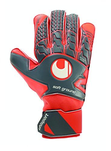 UHLSPORT - AERORED SOFT PRO - Gant gardien football - Paume Latex Soft - Coupe Classique - gris foncé/rouge fluo/blanc,Taille 7