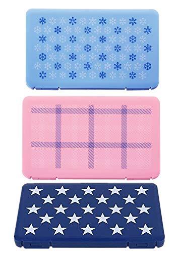 Ousyaah 3pcs Caja portátil de Almacenamiento de mascarillas Desechables, Caja de Limpieza a Prueba de Polvo y Humedad, Caja de Almacenamiento de algodón filtrado (Azul+Azul Oscuro+Rosa)