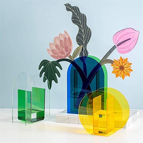 Florero Jarrones de acrílico Contenedor Floral Diseño de Flores Decorativas Banquete de Boda Flores Centros de Mesa Decoración de Oficina en casa (Color: TransGreenArch)