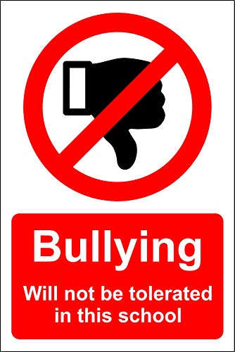 Pesten wordt niet getolereerd in dit schoolbord - Zelfklevende sticker 300mm x 200mm