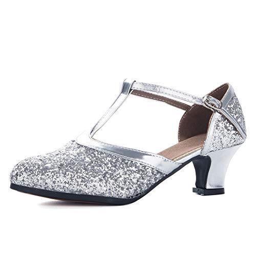YKXLM Personaje Moderno Zapatos de Baile Zapatos de Personaje para Mujer Zapatos de Baile Cerrados con Tira en T Modelo-KM838 Plateado 37 EU