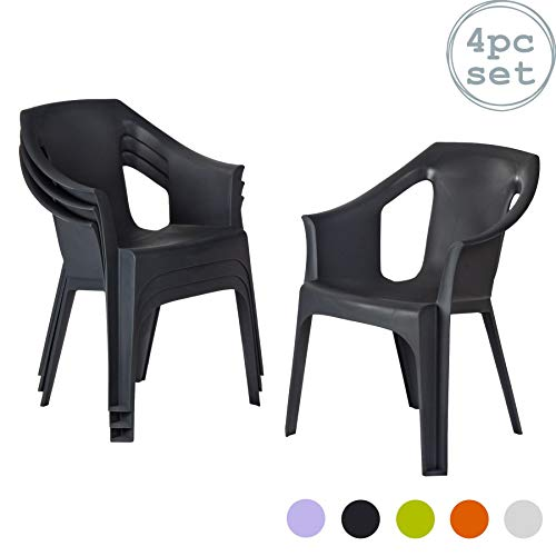 Resol Cool Plastic Garden Chairs - Grey (Set of 4)