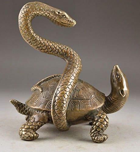 YANGYUE Exorcismo auspicioso clásico Serpiente Tortuga Estatua decoración Trabajo Hecho a Mano de latón Chino