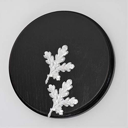 Keilerschild Keilerbrett Gewaffbrett Trophäenschild rund dunkel AF 15 cm mit 2 Stück Aluminium Eichenlaub Deckblatt