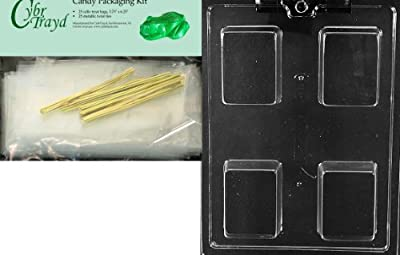 Cybrtrayd Mdk25G-AO140 Plain Krispy Treat Rectangle Bar All Occasions Chocolate Candy Mold with Packaging Bundle of 25 Cello Bags, 25 Gold Twist Ties and Chocolate Molding Instructions