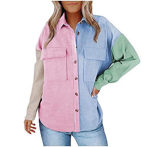 Lenfeshing Chaqueta de Pana con Costuras En Bloque de Color de Moda para Mujer Camisa de Manga Larga con...