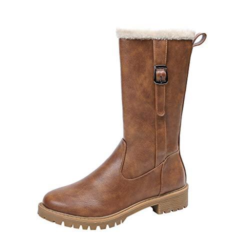 POLP Botas Mujer Invierno Botas Altas Tacon Ancho con Hebilla Zapatos Tacón bajo Botas de Nieve (Ropa)