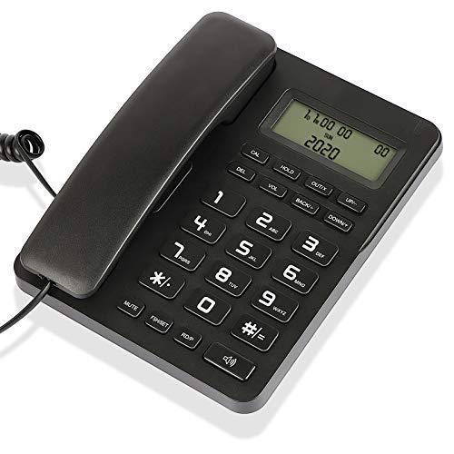 Desktop Corded Telephone, Wired Landline Phone for Home/Hotel/Office, Adjustable Volume, 3 Adjustable Levels of Screen Contrast, Caller Identification, Calculator Function, Black