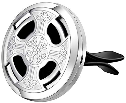 mEssentials Celtic Cross Aromatherapy Car Air Freshener Essential Oil Car Vent Diffuser With Vent Clip and 8 Color Refill Pads