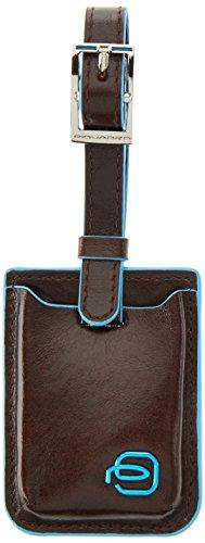 Piquadro Blue Square Etichetta per Valigie, Pelle, Mogano, 16 cm