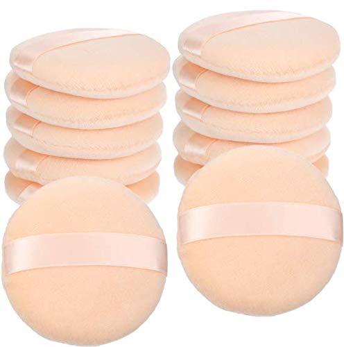 12 Stück Baumwolle Puder Quasten Runde Größe mit Riemen Makeup Lose Puder Quaste für Gesicht...