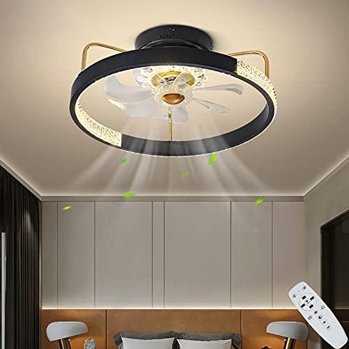 Lámpara de Techo de Dormitorio Circular LED Ventiladores de Techo con Luz y Mando a Distancia Regulable 80W Moderna Diseño de Negro, Silencioso Fan Iluminación para Dormitorio salón Comedor Ø50CM