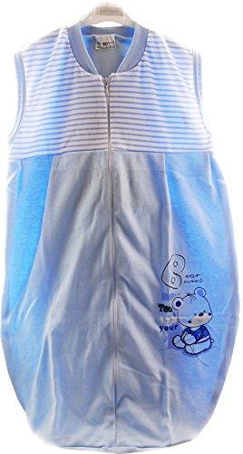 Baby Schlafsack Reißverschluß Babyschlafsack ohne Ärmel Blau Sommerlich Leicht Einlagig!!! (0/6M - 63cm)